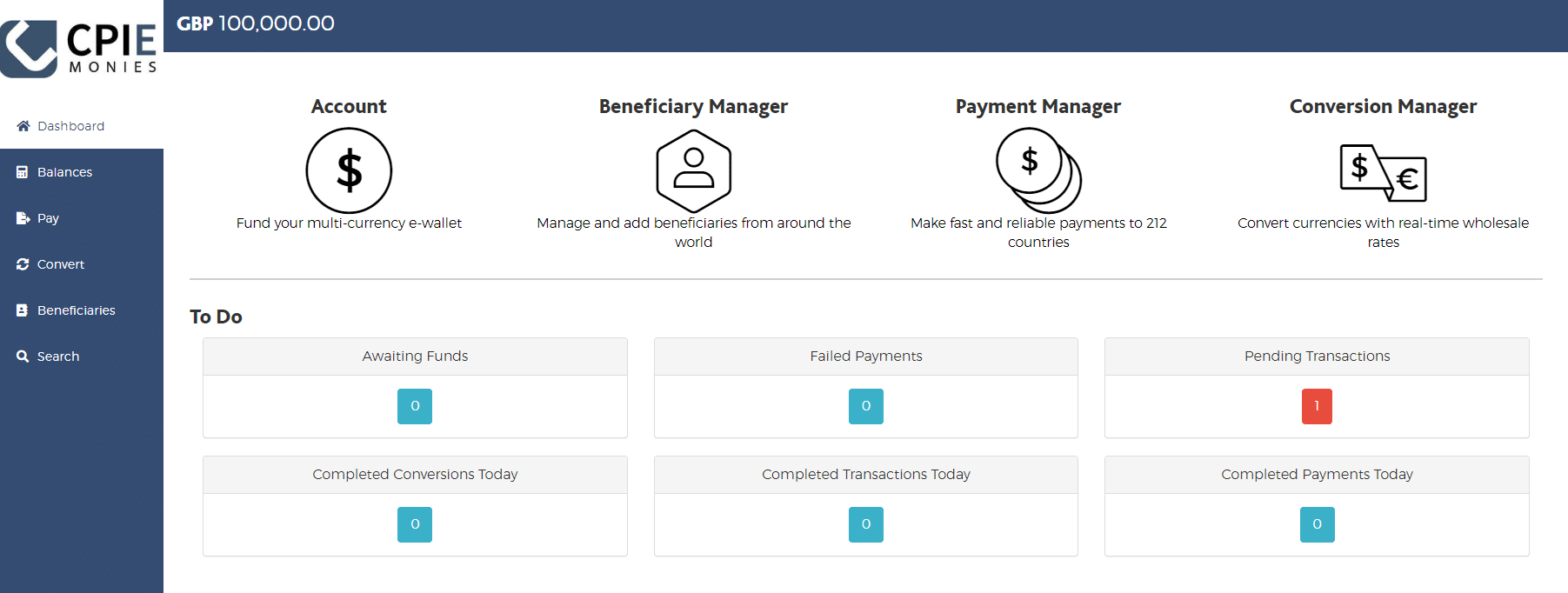 CPIE Monies dashboard